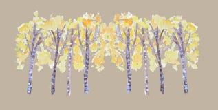 Hand getrokken watercolour de herfstbomen Heldere gele de steeggroep van de berkboom op beige achtergrond, dalingsontwerp, vector vector illustratie