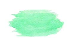 Hand getrokken waterverf groene die textuur op de witte achtergrond wordt geïsoleerd Stock Afbeelding