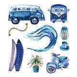 Hand getrokken waterverf het surfen reeks in retro stijl stock illustratie