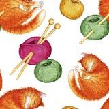 Hand getrokken waterverf naadloos patroon die uit het breien van toebehoren bestaan Stock Afbeeldingen
