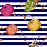 Hand getrokken waterverf naadloos patroon die uit het breien van toebehoren bestaan Royalty-vrije Stock Afbeelding