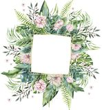 Hand getrokken waterverf tropische gouden florariums met flamingo De exotische illustraties van het florariumkader voor tekst, wi stock illustratie