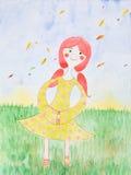 De illustratie van de waterverf, jong meisje in dalingsseizoen Stock Foto