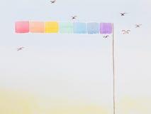 Hand getrokken waterverfillustratie van regenboogvlag Stock Afbeelding