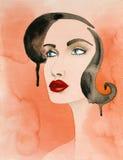 Hand getrokken illustratie van mooie, sexy vrouw Royalty-vrije Stock Afbeelding
