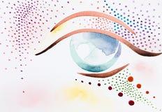 Hand getrokken waterverfillustratie van psychedelisch oog Royalty-vrije Stock Afbeeldingen