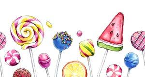Hand getrokken waterverfillustratie van kleurrijk suikergoed Royalty-vrije Stock Fotografie