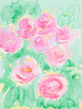 Hand getrokken waterverfillustratie van roze bloemen Stock Afbeelding