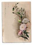 Hand getrokken waterverfkaart met eustomabloemen Royalty-vrije Stock Fotografie