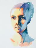 Hand getrokken waterverfportret van rustige vrouw Stock Afbeeldingen
