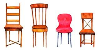 Hand getrokken waterverfreeks gestileerde stoelen stock illustratie