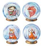 Hand getrokken waterverfreeks illustraties van de koffiemok van sneeuwbollen witn, vissen en corgihonden vector illustratie