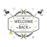 Hand getrokken Welkome Achter bloemenembleembanner op witte achtergrond Royalty-vrije Stock Foto's