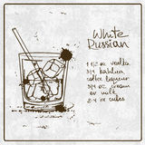 Hand getrokken Witte Russische cocktail Royalty-vrije Stock Foto