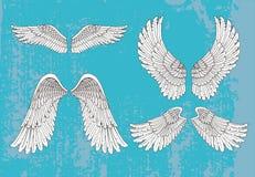 Hand getrokken witte vleugels stock illustratie