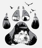Hand getrokken wolfsportret voor uw ontwerp, het wildconcept Royalty-vrije Stock Afbeeldingen