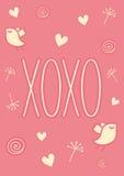Hand getrokken XOXO-kaart Royalty-vrije Stock Foto