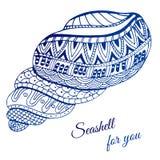 Hand getrokken zeeschelp met etnisch motief Kaart met plaats voor tekst Vector illustratie Royalty-vrije Stock Afbeeldingen