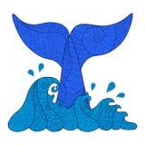 Hand getrokken zentangle golven en walvis tail2 royalty-vrije illustratie