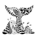 Hand getrokken zentangle golven en walvis tail1 vector illustratie