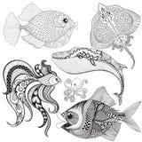 Hand getrokken zentangle Vissen, Walvis, Octopus, Pijlstaartrog voor volwassene vector illustratie