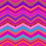 Hand getrokken zigzagpatroon in helder roze. Stock Fotografie