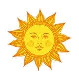 Hand getrokken zon met gezicht en ogen Alchimie, middeleeuws, geheim, mysticussymbool van zon Vector illustratie Stock Foto