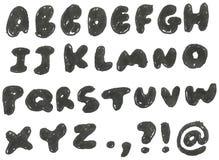 Hand getrokken zwart gemaakt alfabet Royalty-vrije Stock Afbeelding