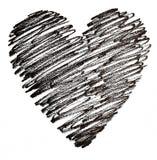 Hand getrokken zwart hart Royalty-vrije Stock Foto's
