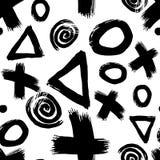 Hand getrokken zwart-wit naadloos patroon met verschillende cijfers royalty-vrije illustratie