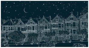 Hand getrokken zwart-witte illustratie van de stad van San Francisco bij nacht stock afbeelding