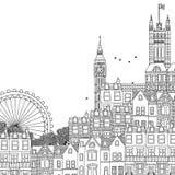 Hand getrokken zwart-witte illustratie van Londen Stock Foto's