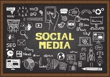 Hand gezeichnet über SOCIAL MEDIA auf Tafel Lizenzfreie Stockfotografie