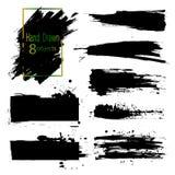 Hand gezeichnet 8 Gegenständen Satz Bürsten und Gestaltungselemente Schwarze Farbe, Tintenbürstenanschläge, plätschert Künstleris Stockfoto