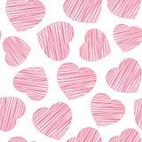 Hand gezeichnet, nahtloses Muster des roten Herzens ausbrütend Stockfotos