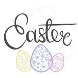 Hand gezeichnet, Ostern beschriftend Lizenzfreie Stockbilder