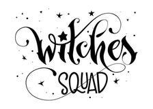 Hand gezeichnet, Phrase beschriftend - Hexen-Gruppenzitat stock abbildung