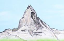Hand gezeichnet vom Berg Matterhorn lizenzfreie stockbilder