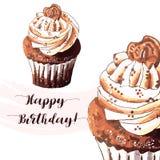 Hand gezeichnet vom geschmackvollen kleinen Kuchen Lizenzfreies Stockbild