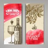 Hand gezeichnet von den Weinfahnen Stockfotos