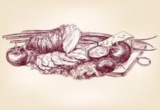 Hand gezeichnet von der Nahrung Stockfoto