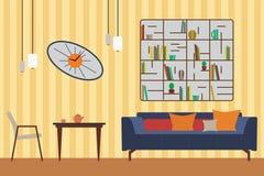 Hand gezeichnete Abbildung auf Weiß Flache Vektor-Illustration für Sie Innenarchitektur Aufzug mit Sofa, Tabelle, Stuhl, Regalen  Stockfoto