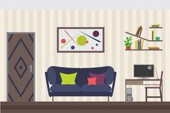 Hand gezeichnete Abbildung auf Weiß Flache Vektor-Illustration für Sie Innenarchitektur Aufzug mit Tür, Sofa, Tabelle, Stuhl, Reg Lizenzfreie Stockbilder