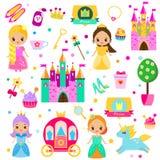 Hand gezeichnete Abbildung auf weißem Hintergrund Große Sammlung Vektormärchen-Mädchenelemente Schloss, Einhorn, Wagen und andere stock abbildung
