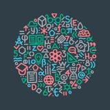 Hand gezeichnete Abbildung Bildungszeichen und -symbole Element FO Stockfoto