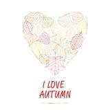 Hand gezeichnete Abbildung Hintergrundherz des Herbstlaubs Ich liebe Herbst Stockfotografie