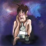 Hand gezeichnete Abbildung Trauriger Alkoholiker Flasche Wodka waterco lizenzfreie abbildung