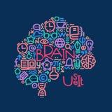 Hand gezeichnete Abbildung Willkommen zurück zu Schule Gehirn mit Text Stockfotos