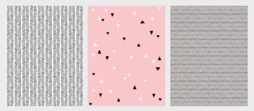 Hand gezeichnete abstrakte Linien und Dreieck-Vektor-Muster eingestellt Verschiedenes Design 3 Rosa, graue und schwarze Farben vektor abbildung