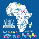 Hand gezeichnete Afrika-Reisekarte mit Stiftvektor Lizenzfreie Stockfotografie